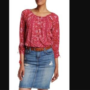 Lucky Brand Tie Sleeve Henley Blouse Red Floral